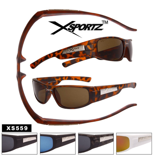 Xsportz™ Full Rectangular Lens Sport Sunglasses - Style #XS559