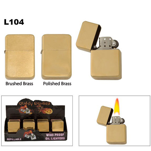 Oil Lighters with assorted brushed & polished Brass finish.