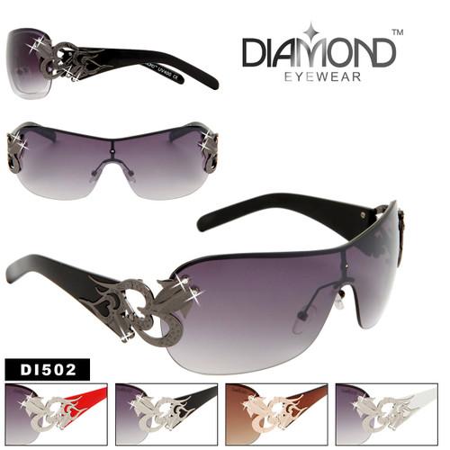 One Piece Lens Rhinestone Sunglasses DI502