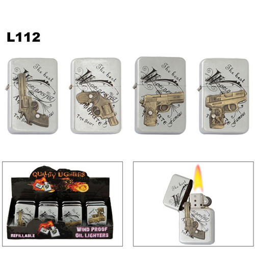 Lighters wholesale with assorted hand gun emblems on brushed chrome.