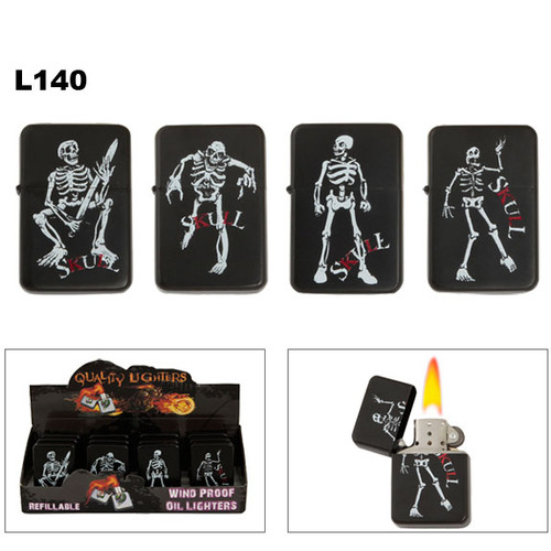 Lighters Wholesale with Skeletons on Black Finish L140