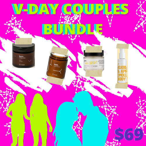 This Valentine's Day, RARA CLUB encourages you to #dateathome with your favorite guy/gal and our V-Day Couple's Bundle.     The bundle includes a massage candle and oil, lip scrub (for smooches!), and a bath milk. Pamper yourself... or your partner with this box. It's really the gift (and date) that keeps on giving!     Pro tip: Pair with a bottle of wine and/or takeout from your favorite restaurant.     This bundle is a $76 value for only $69!
