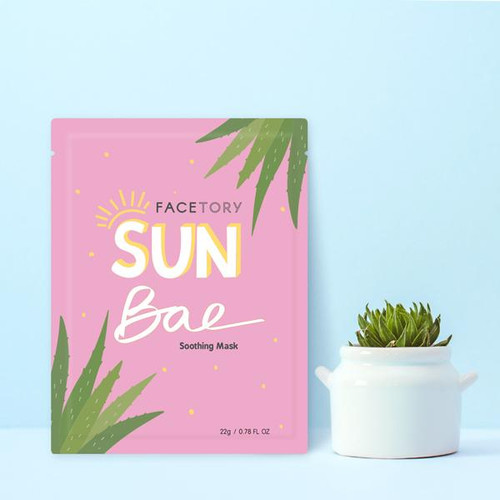 ABOUT THIS PRODUCT:  Become the ultimate sun bae with our FaceTory sun bae soothing mask! Using a rayon sheet material and the best ingredients to soothe your skin, get your skin restored and back in tip-top shape after a sunny day at the beach!     KEY INGREDIENTS AND BENEFITS:  1. Aloe barbadensis leaf extract- soothes and hydrates the skin with its anti-inflammatory properties.  2. Jojoba seed oil- this emollient helps soothe skin and unclog hair follicles, commonly used to treat acne, dry skin, and sunburns.