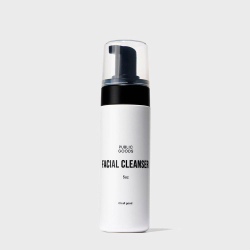 ABOUT THIS PRODUCT:  This foaming facial cleanser is a gentler way to maintain a clear complexion. Effectively remove dirt, excess oil and makeup from your skin without the harsh chemicals or detergents. Formulated for all skin types, our facial cleanser is ideal even for sensitive or acne prone skin. With a refreshing lather that rinses off easily, skin is left hydrated and renewed.     KEY INGREDIENTS AND BENEFITS:  Carefully considered high quality, natural, and healthy ingredients derived from peppermint, aloe and coconut.     WHY WE LOVE THIS BRAND:  Public Goods offers high-quality yet budget friendly items. They make products that are good for people and good for the planet. Their packaging is elegant and minimal, and their price points are accessible. We're proud to offer Public Goods to you all!     HOW THIS BRAND IS MAKING THE WORLD A BETTER PLACE:  Public Goods knows that we can all create big changes to our world, and the brand believes that together our small choices can make a big impact. Many of the toughest problems the world faces are the result of the products we choose to consume.That's why Public Goods is commited to making healthier, more informed choices easy and accessible to all.