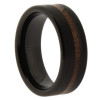 8 mm Black Tungsten Band with Off-set KOA wood - BK406WG