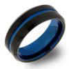 8 mm Black/Blue Tungsten Wedding Bands - B809WG