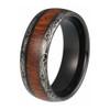 8 mm KOA Wood Mens Wedding Bands - Laser Etched Black Tungsten - L530C