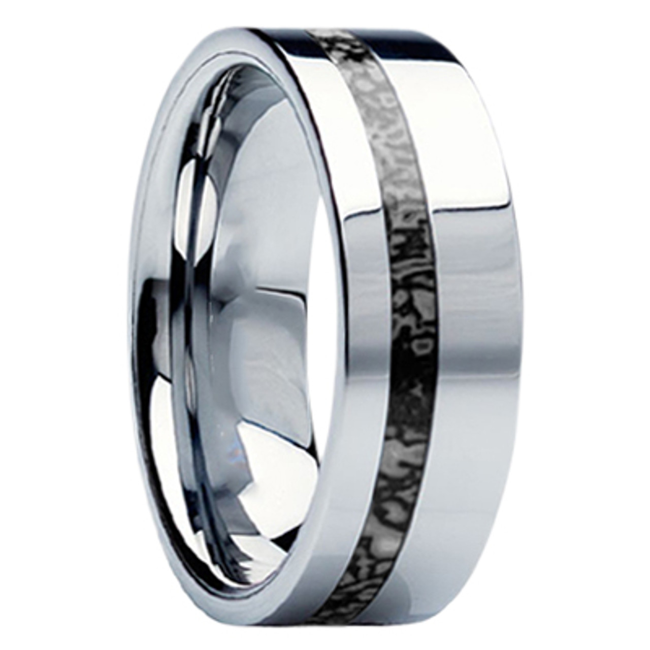 It is a graphic of 42 mm Unique Mens Wedding Bands in Titanium with Dinosaur Bone Inlay - D42M