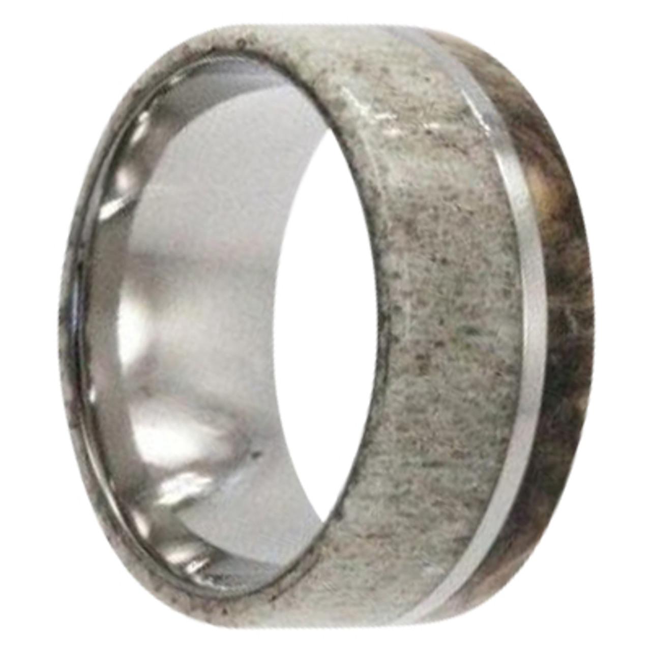 It is a picture of 42 mm Unique Mens Wedding Bands in Titanium with Antler and Buckeye Burl Wood Inlay - D42M