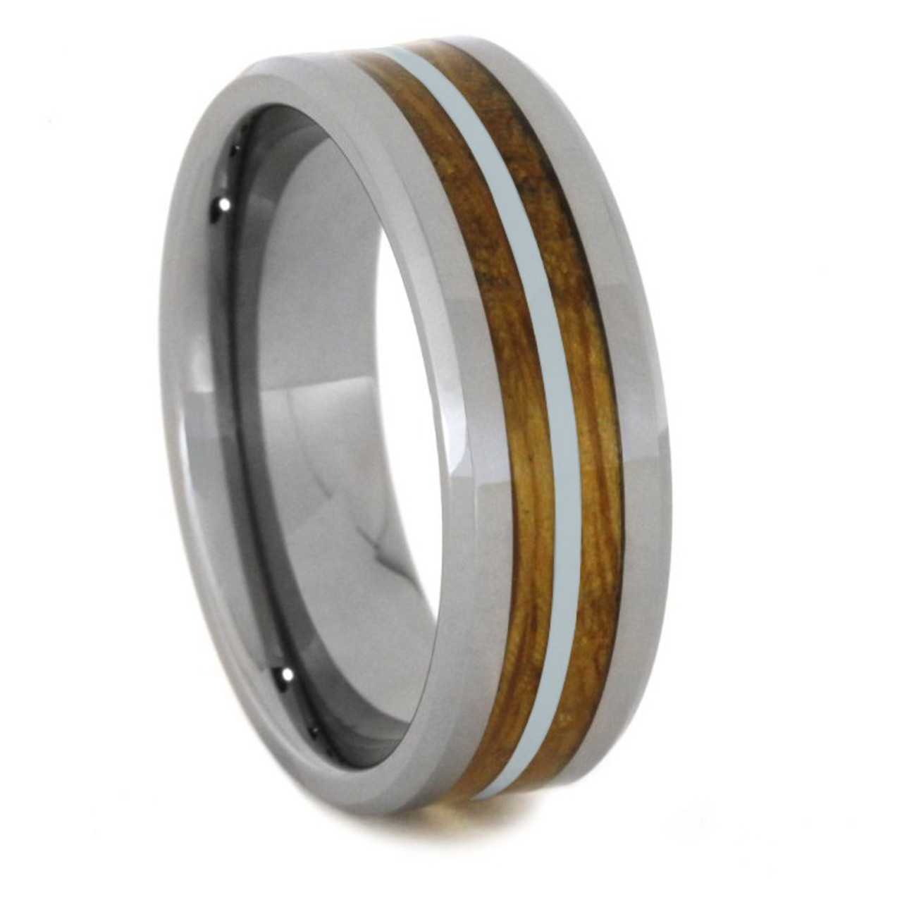 8 Mm Tungsten Silver Mens Wedding Bands Whiskey Barrel Inlay
