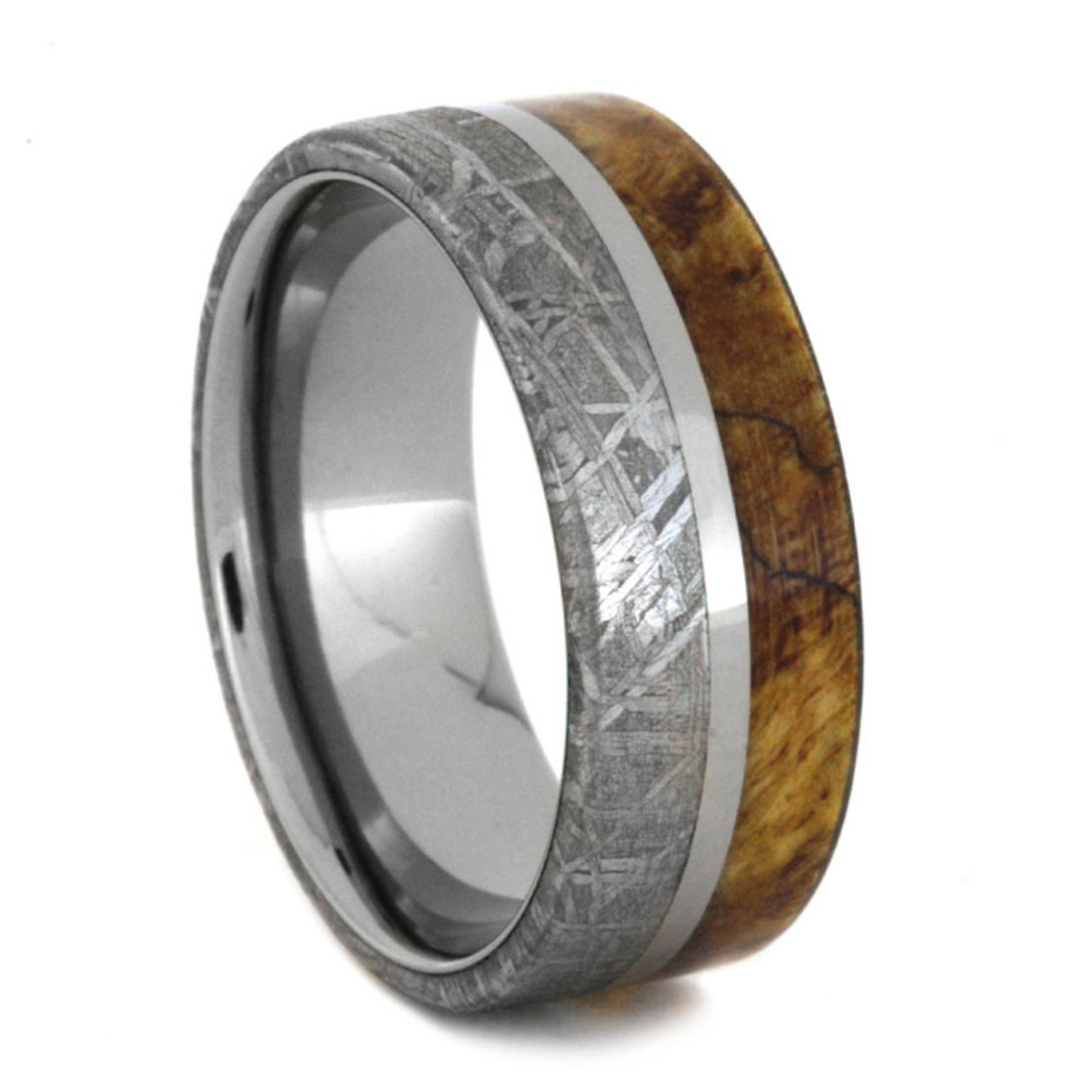 Mens Wedding Rings.8 Mm Meteorite Burl Wood Mens Wedding Bands In Titanium Mb846m