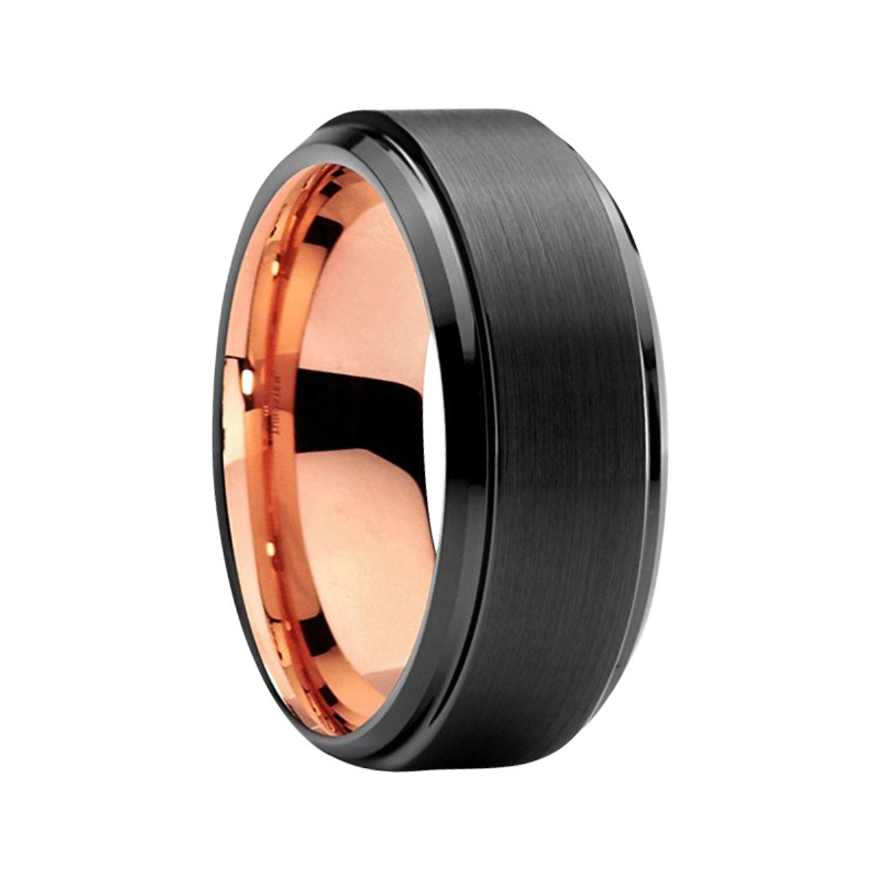 It is an image of 32 mm Mens Wedding Bands - Black Tungsten, with Rose Gold - J32RBC