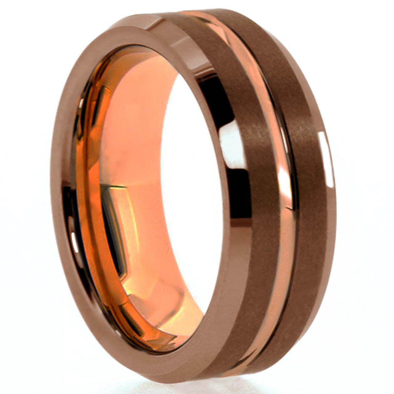 Rose Gold Ring Mens Wedding Band Brown Ring 8mm Engagement Band Brown Tungsten Carbide 18k Rose Gold Wedding Band Brushed Brown Domed Ring