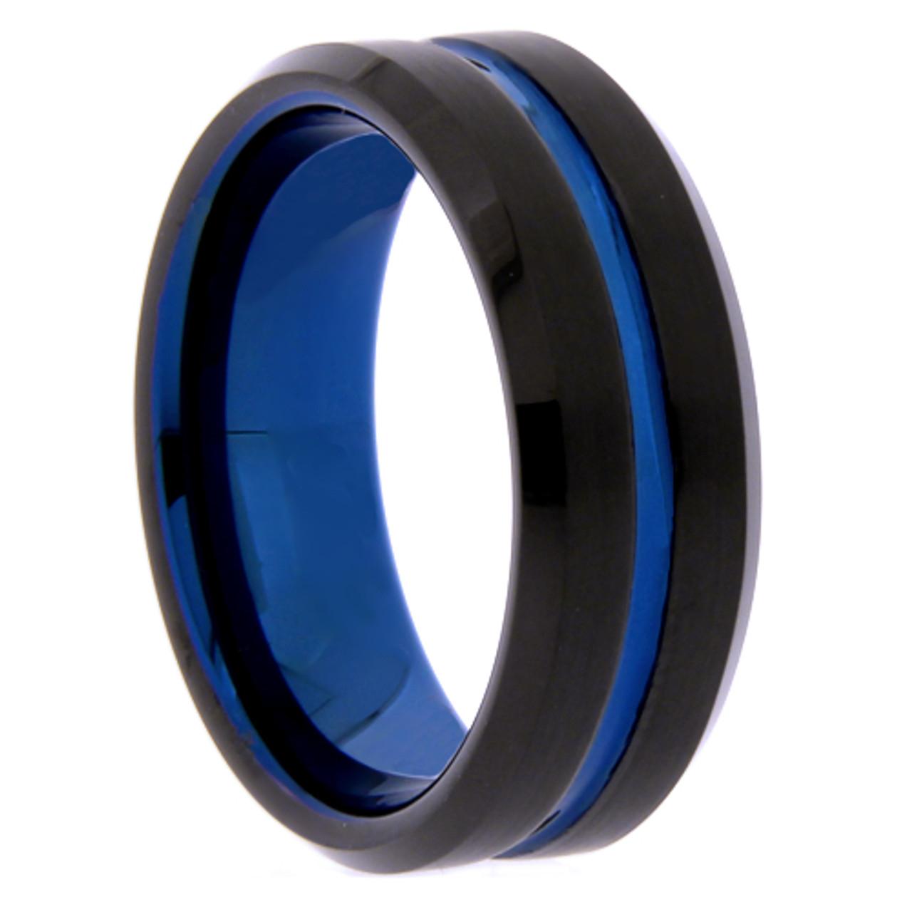 Tungsten Wedding Rings.8 Mm Black Blue Tungsten Wedding Bands B809wg