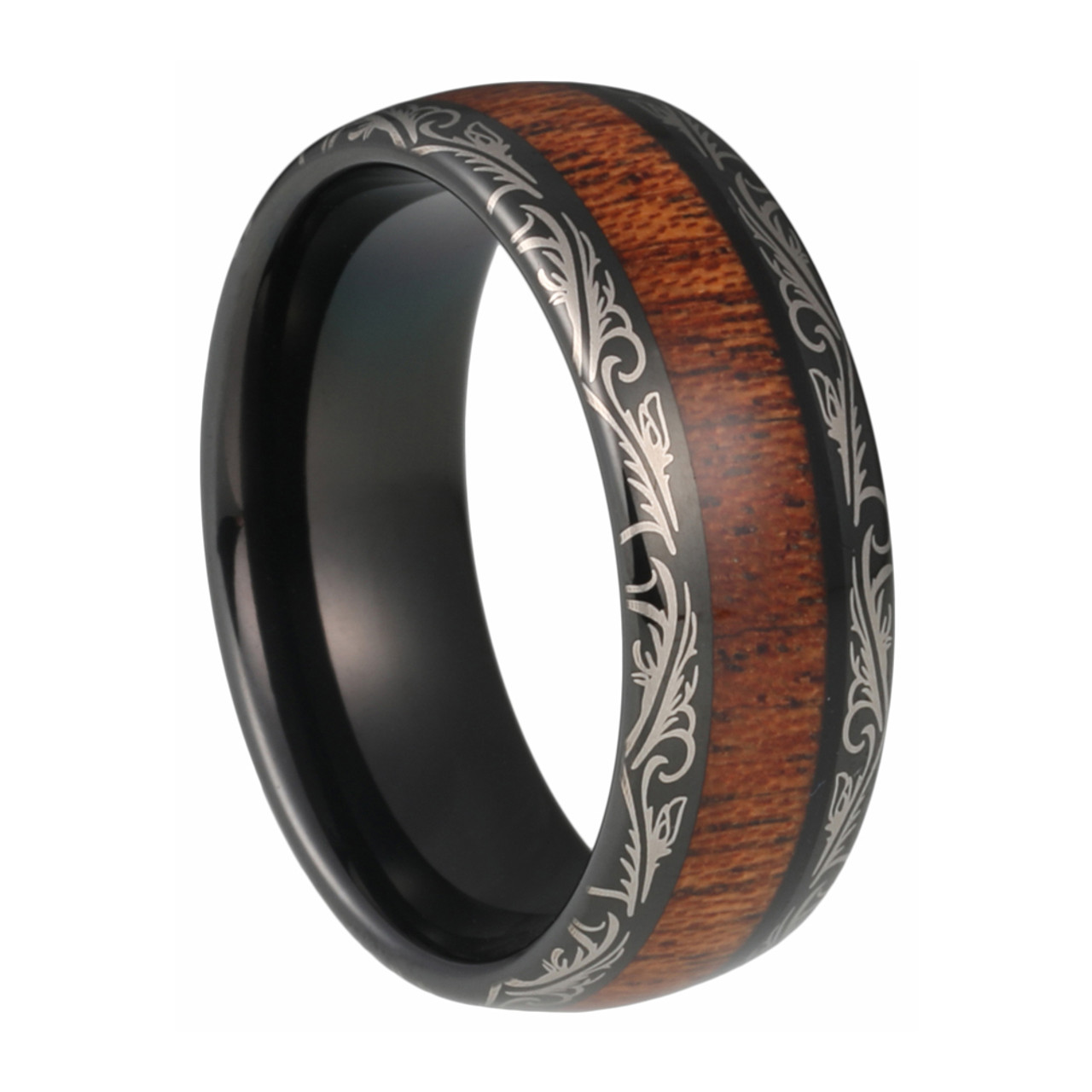 8 Mm Koa Wood Mens Wedding Bands Laser Etched Black Tungsten