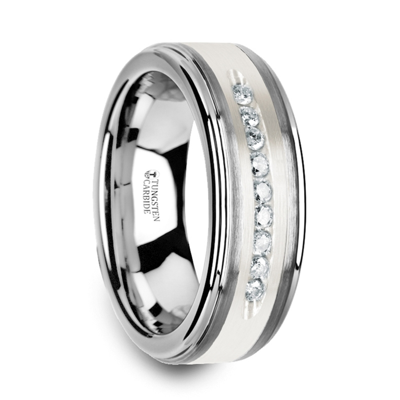 Mens Wedding Bands Tungsten.27 Cwt White Diamond Mens Wedding Bands Tungsten Z218c