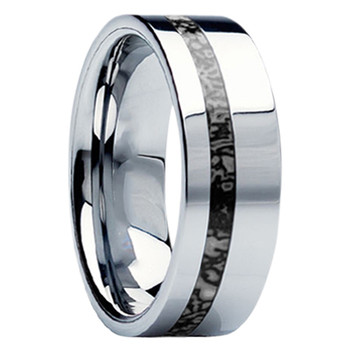 8 mm Unique Mens Wedding Bands in Titanium with Dinosaur Bone Inlay - D116M