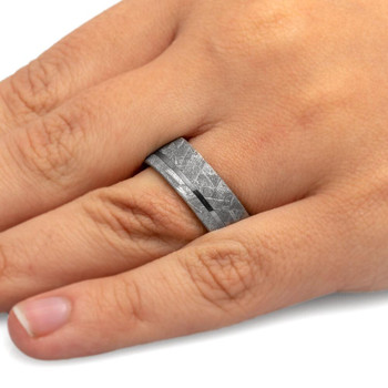 8 mm Titanium with Meteorite Inlay Wedding Ring - A105M