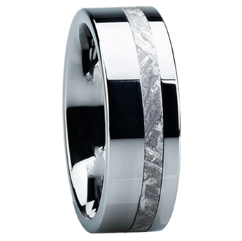 8 mm Meteorite Mens Wedding Bands in Titanium - E118M