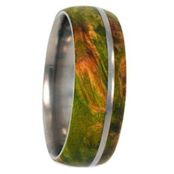 8 mm Titanium with Green Box Elder Burl Wood Inlay - G333M