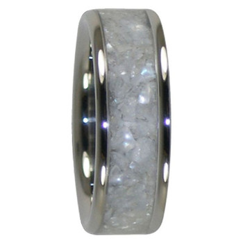 8 mm White Pearl Inlay, Titanium - A388H
