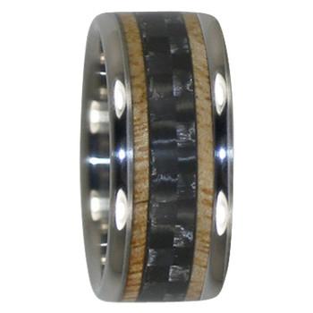 8 mm Unique Mens Wedding Bands in Black Carbon Fiber and Mango Wood Inlay, Titanium - N333H
