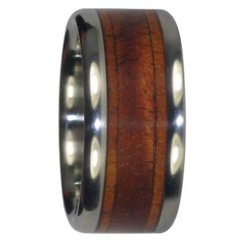 10 mm Unique Mens Wedding Bands in Blue Tiger KOA Wood Inlays, Titanium - T559H