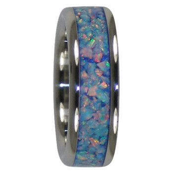 8 mm Unique Mens Wedding Bands in Blue Fire and Ice Lab Opal Inlay, Titanium - V111H