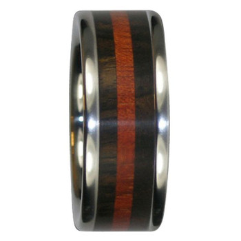 9 mm Unique Mens Wedding Bands in Wenge and Blood Wood, Titanium - Y123H