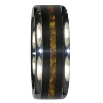 8 mm Unique Mens Wedding Bands in Black Wood and Gold Tiger's Eye Wood, Titanium - Z449H