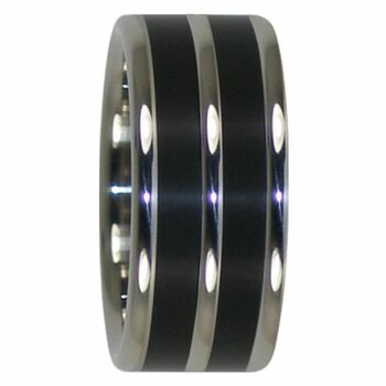 10 mm Double Black African Wood, Titanium - AA232H