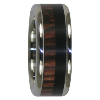 8 mm Wedding Bands in Kingwood and Black African Wood Inlay, Titanium - DD319H