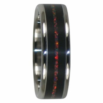 6 mm African Black Wood and Lab Red Opal Inlay, Titanium - RR111H