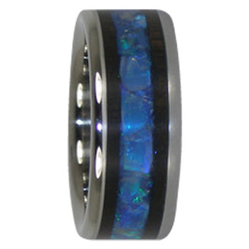 9 mm Australian Opal and Blackwood Inlay, Titanium - A229H