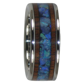 9 mm Australian Opal and KOA Wood Inlay, Titanium - A300H