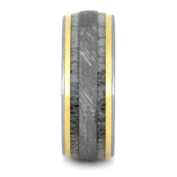 9 mm Titanium with Antler, 18 Yellow Gold, Gibeon Meteorite Wedding Band - G228M
