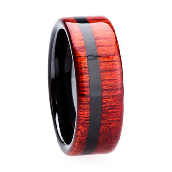 8 mm Unique Mens Wedding Bands - Black Ceramic & Bloodwood Inlay - BC623M