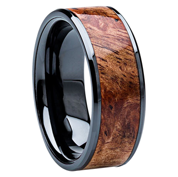 8 mm Unique Mens Wedding Bands - Black Ceramic & Sindora wood Inlay - BCS121M