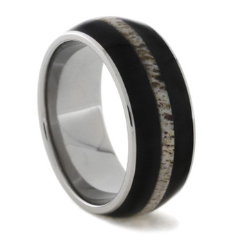 9 mm Titanium with Blackwood and Deer Antler Inlay - BA734M