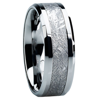8 mm Tungsten Mens Wedding Bands with Meteorite - T104M