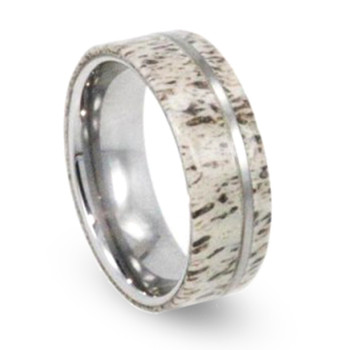 8 mm Deer Antler Mens Wedding Bands in Tungsten - T350M