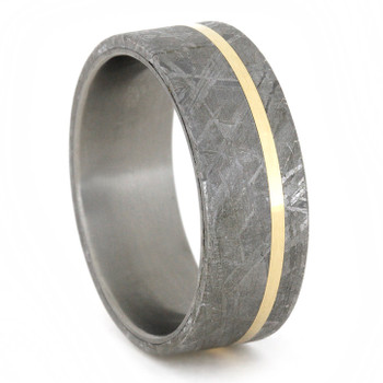 8 mm Titanium with Meteorite & 14 Kt Yellow Gold Inlay - M767M