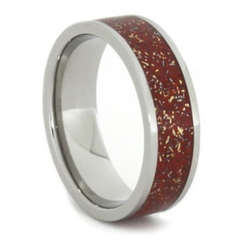 7 mm Titanium with Meteorite Shavings & 14 Kt Yellow Gold - M707M