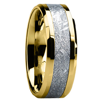 8 mm Mens Wedding Bands with 14 kt. Yellow Gold/Meteorite - G119M