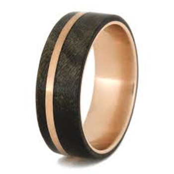 7 mm Unique Mens Wedding Bands in Rose Gold/Buckeye Wood Inlay - W755M