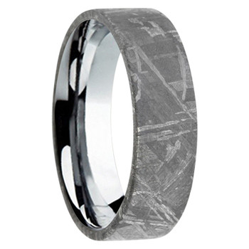 6 mm Tungsten Wedding Bands with Meteorite - A444M