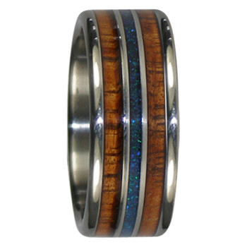 9 mm Black Peacock Opal, KOA Inlay, Titanium Bands - ZZ101H