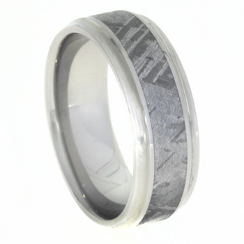 8 mm Mens Wedding Bands with Meteorite - C602M