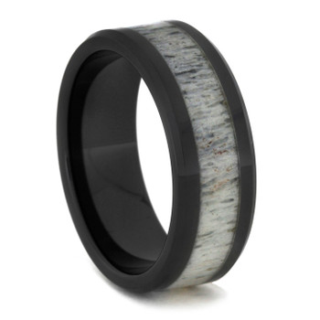 8 mm Unique Mens Wedding Bands with Black Ceramic/Antler - BC756M