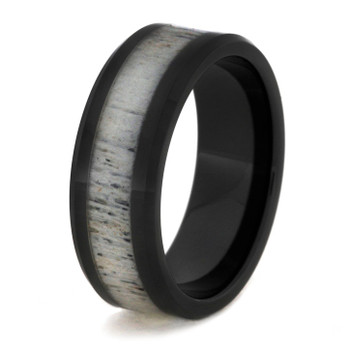 8 mm Unique Mens Wedding Bands with Black Ceramic/Antler - BC756M